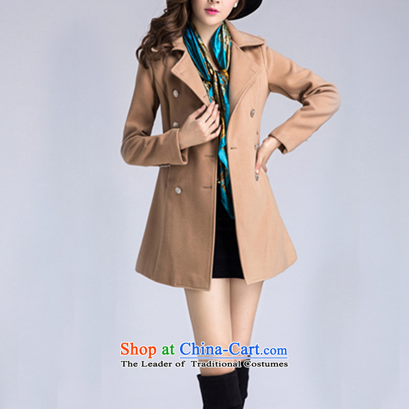 The world of yue han jin edition double-coats female jacket gross? Fall_Winter Collections 2014 new suit women a jacket a wool coat female card its燤