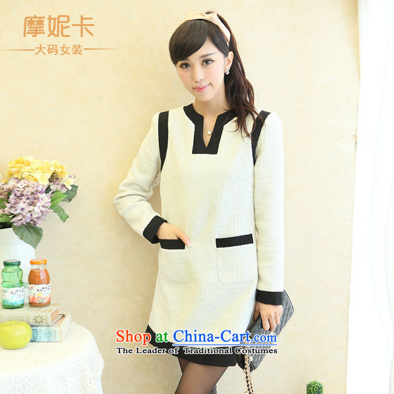 American Samoa Nika 2013 large female mm thick winter clothing new Korean version of thin small wind-long-sleeved thick sister dresses White聽XXL