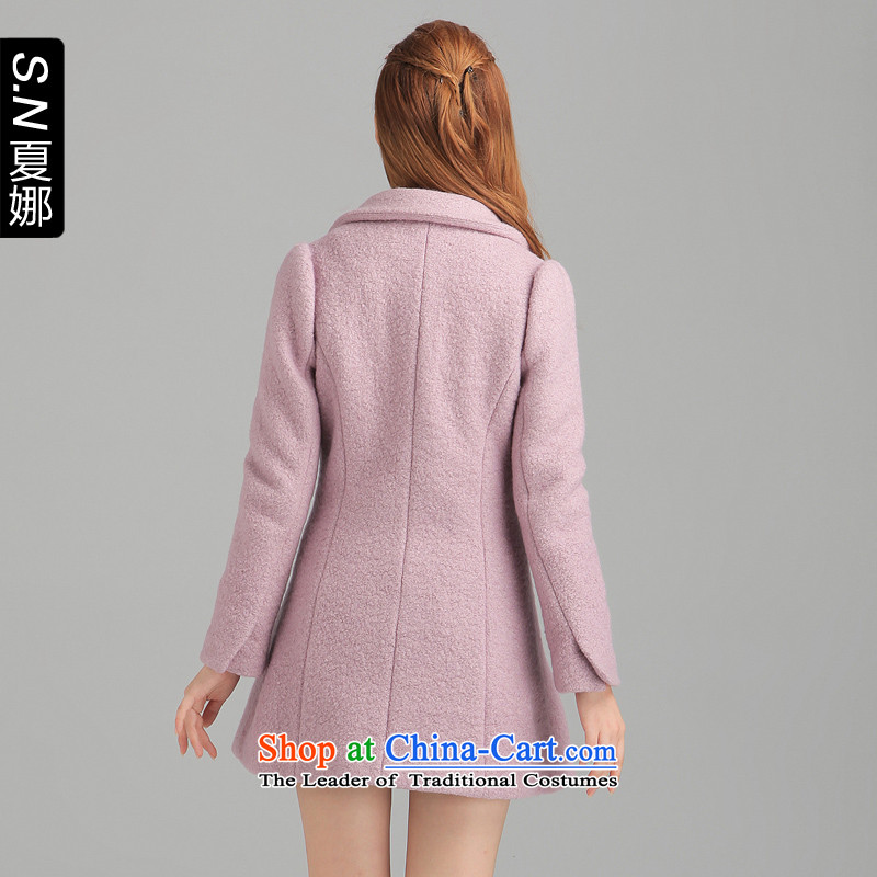 Ha-na (shinena)2013 autumn and winter new products-suit temperament lapel commuter? overcoat 0727 light purple S