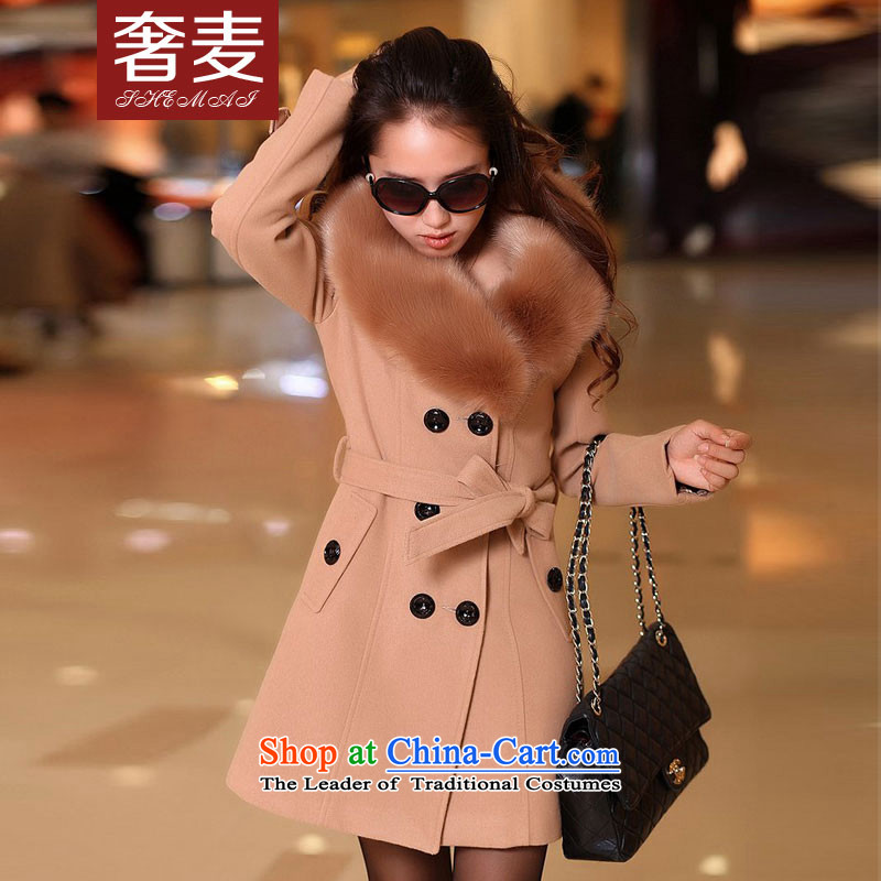 The extravagance 2015 autumn and winter wheat new gross girls jacket?   Korean long hair for a wool coat BJ3018 gross and color聽L