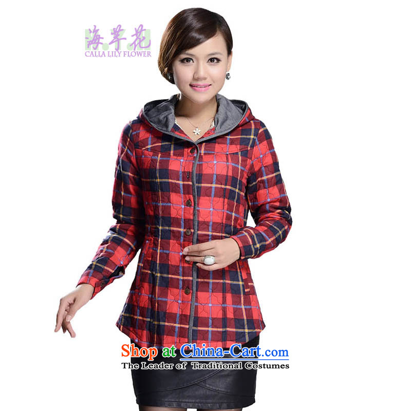 The sea route to spend the Spring and Autumn Period and the new Korean version thin thick mm pure cotton is a grid for larger jacket 42_2030 stamp�L red