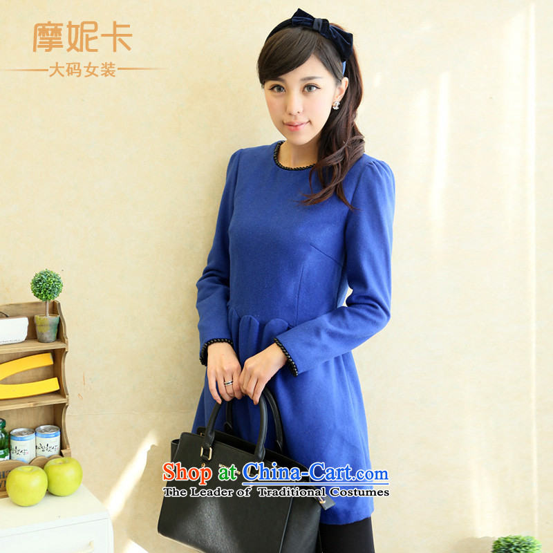 American Samoa Nika larger women 2013 mm thick winter clothing Korean New Graphics thin long-sleeved gross Small Heung-connected? Yi燲XXXL blue skirt