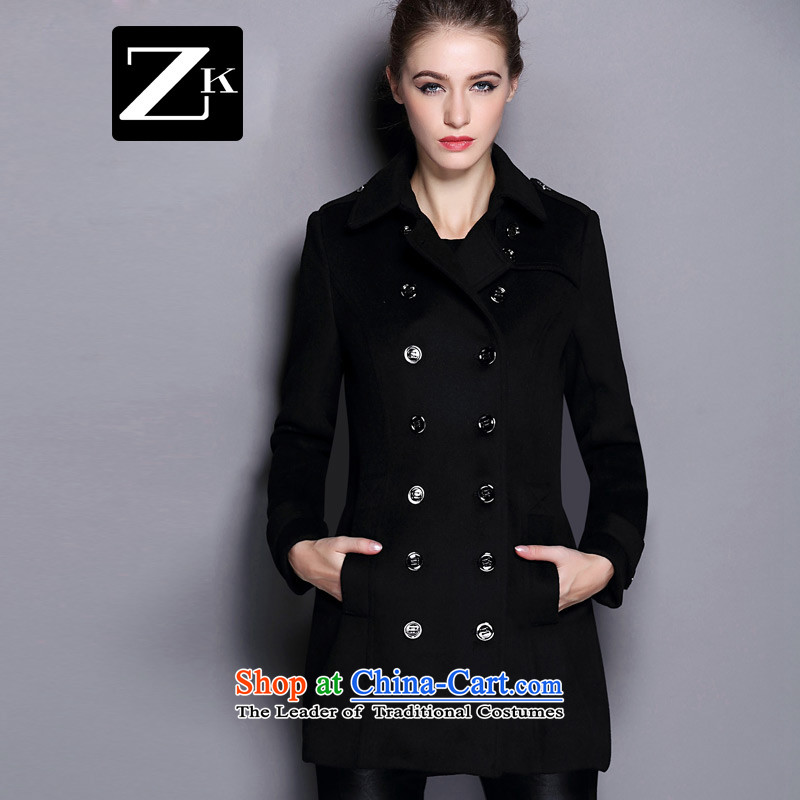 Zk Western women 2015 Fall_Winter Collections new black lapel gross? coats that long hair? jacket Sau San a wool coat black L