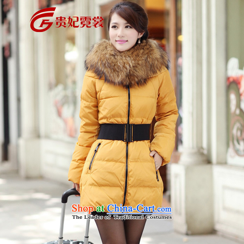 Gwi Tysan 2015 mm thick winter clothing new thick to xl feather cotton coat female in the medium to long term, ad-code thick sister video thin thick yellow jacket 6XL people