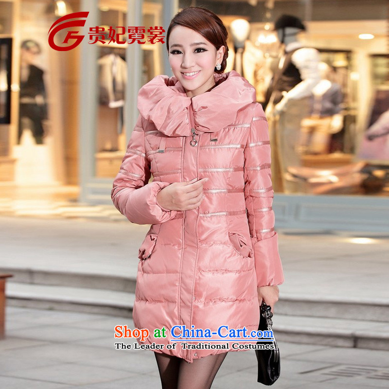 Gwi Tysan mm thick winter clothing new Korean fashion to increase the number of coats lace at extra-thick Women's jacket pink聽6XL聽suitable for 195-210 catty