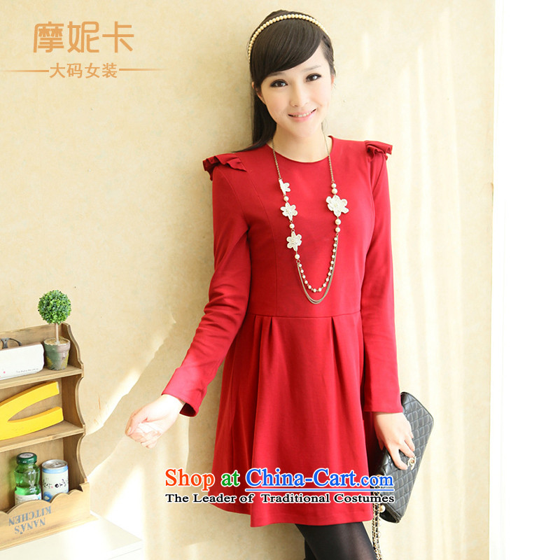 American Samoa Nika larger women 2014 Korean Spring New fat mm Fei Fei cuff round-neck collar red video thin dresses female red color dim XL