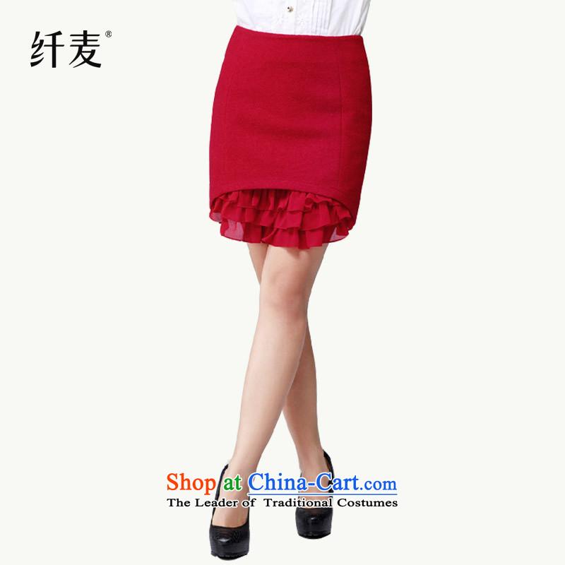 Replace the former Yugoslavia autumn 2015 Migdal code female new stylish mm thick Sau San chiffon stitching body skirt 4300 Red燲L