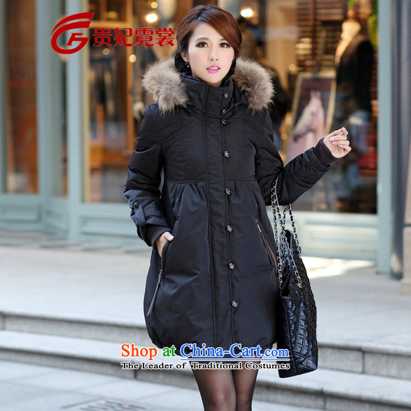 Winter clothing new women's extra-thick mm in down long to xl thick duvet relaxd stylish jacket genuine 109 Black聽4XL weighing about 165 catties
