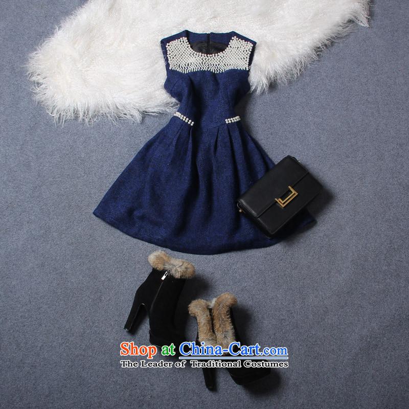Large feelnet female western winter clothing new thick mm staple bead vest skirt sleeveless larger dresses 160 large blue 5XL code