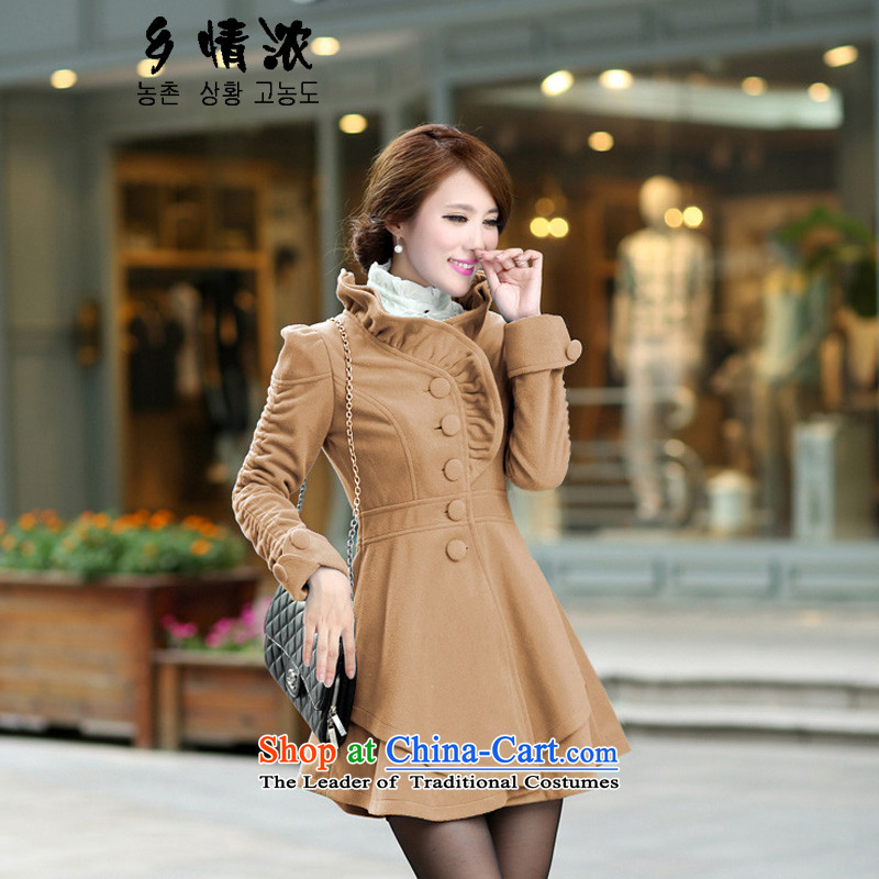 The Korean village thicker 2015 autumn and winter Korean sweet graphics thin coat collar temperament single row at the back of the swinging under rule in long hair color and 681 coat? XL