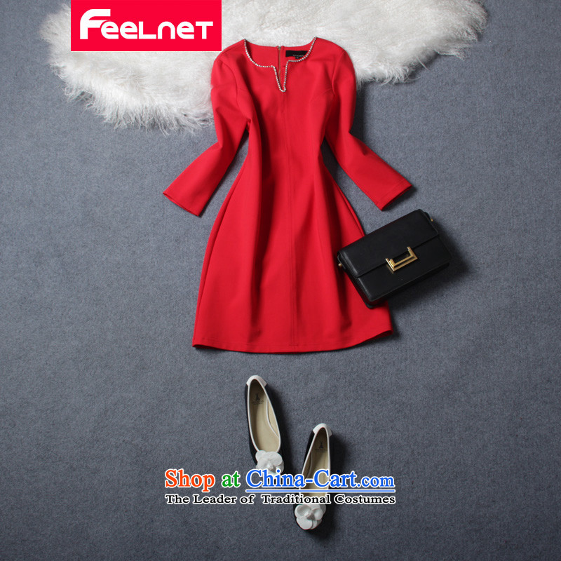 Europe and the 2015 Winter feelnet new to extra-thick mm female to long-sleeved Ad extra large dress code 178 big red 6XL code