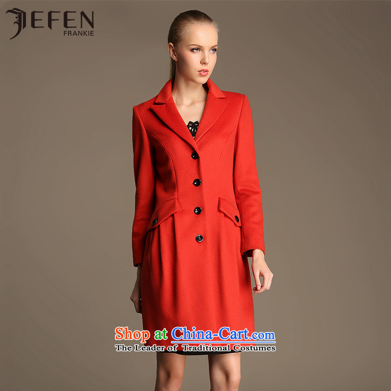 Jefen Giffen autumn and winter Italy satin cashmere overcoat DS120025 Sau San long Orange _2C M