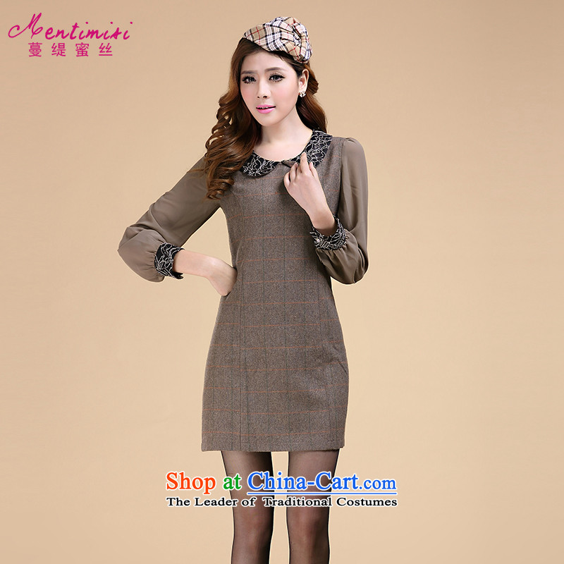 Overgrown Tomb economy honey population to increase women's code load fall thick sister new fashion dolls for long-sleeved dresses�01爌icture color large code XL