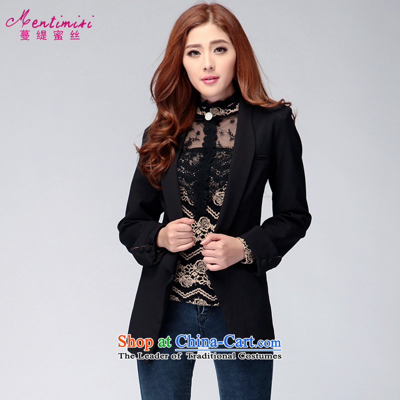 Overgrown Tomb economy honey population to increase women's code during the spring and autumn new Korean Lapel Sau San small jacket�015爈arge black L