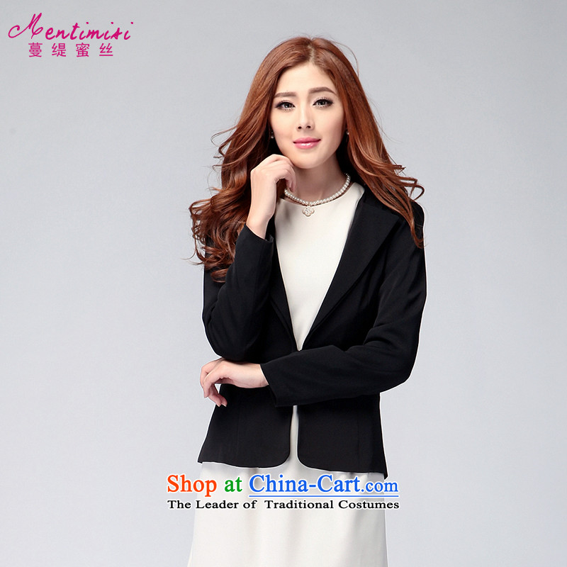 Overgrown Tomb economy honey population to increase women's code load new Korea during the spring and autumn version mm thick Sau San wild long-sleeved jacket small燽lack large 3XL 5016