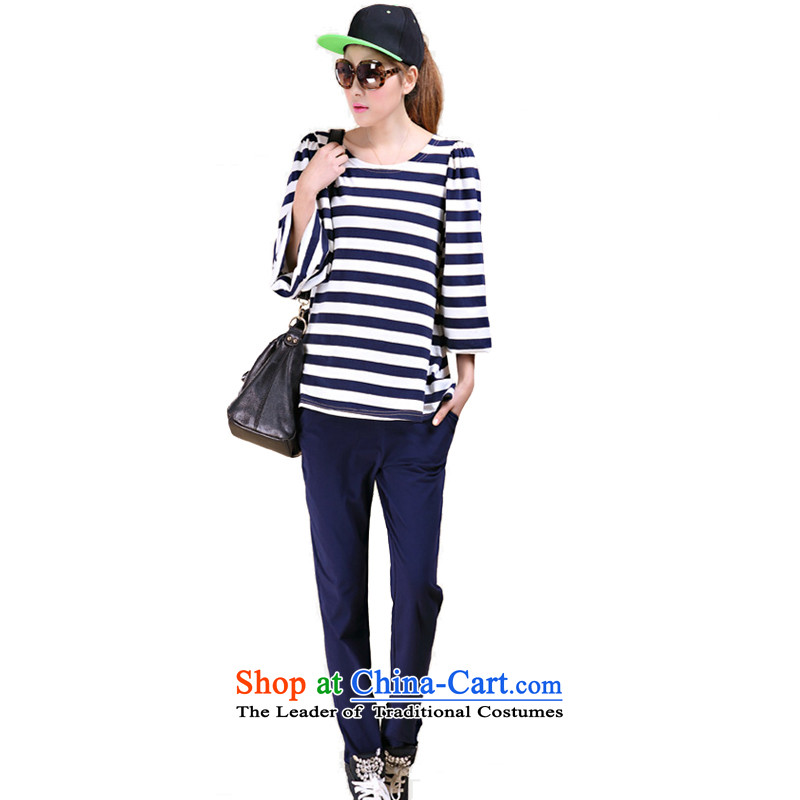 The West by Clinton 2015 Spring Lantern cuff streaks NEW SHIRT Elasticated Waist Trousers Kit female increase is indeed tien fat MM wide sports and leisure suite with large blue�L