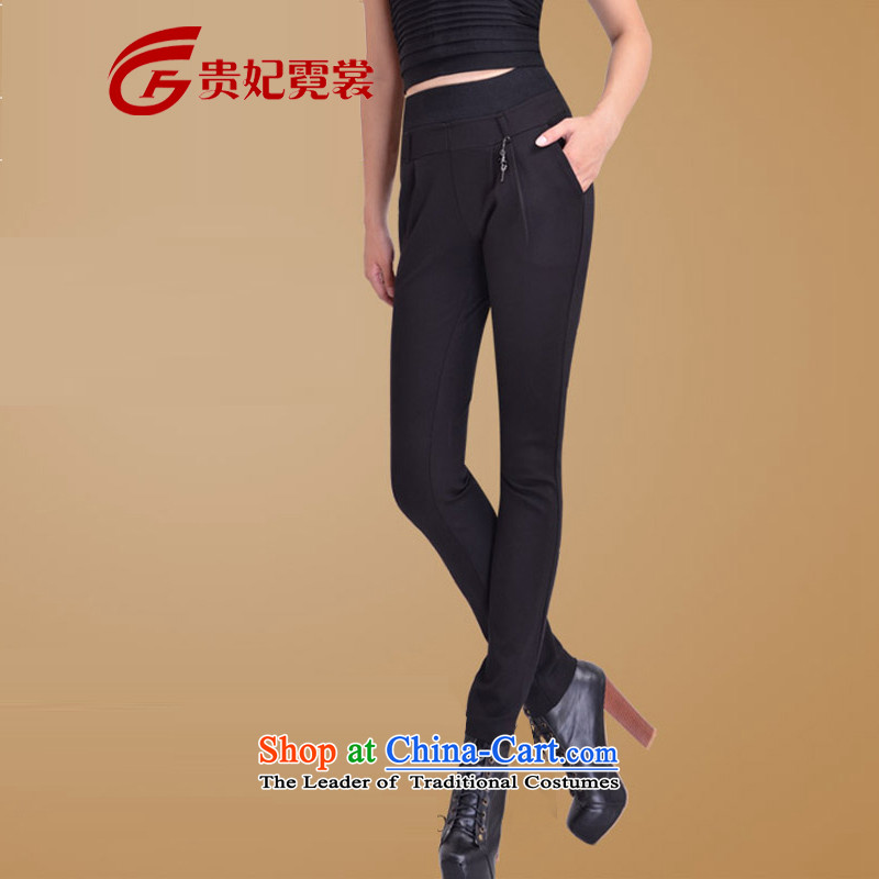 Gwi Tysan C.O.D. XL female thick mm spring new trouthes high elastic waist video thin Harun trousers Sau San Castor 3243 black spring and autumn_聽3XL Thin