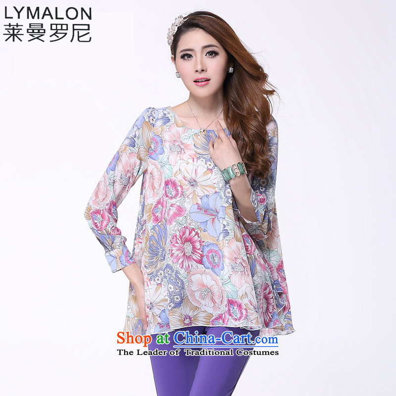 The lymalon lehmann autumn 2015 new product expertise, Hin thin Korean version of large long-sleeved blouses and code chiffon shirt shirt color photo 61462XL