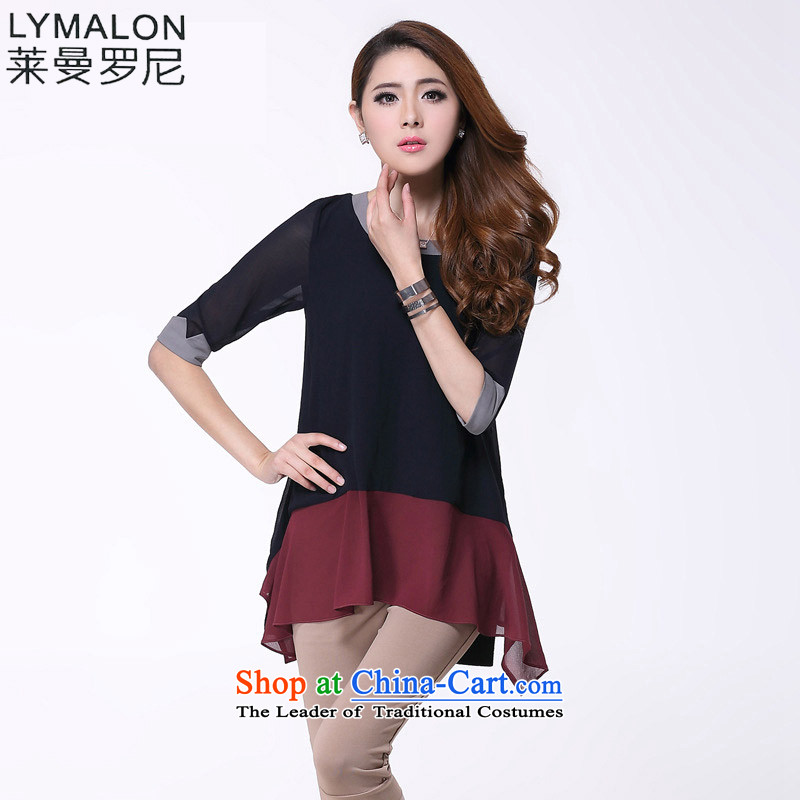 The lymalon lehmann autumn 2015 new product expertise, Hin thin large women in cuff does not rule the chiffon T-shirt�L 2326 Black