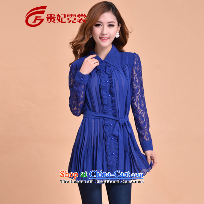 2015 extra thick mm autumn women with the new Korean chiffon shirts to xl lapel lace long-sleeved fold flat lace Lace Up 067 Blue燣