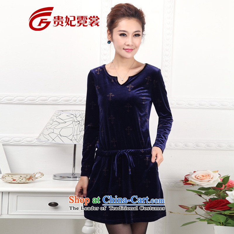 2015 to increase the number of women with thick mm autumn boxed version of the new Korean Sau San video thin round-neck collar velvet 2198 Blue燲L