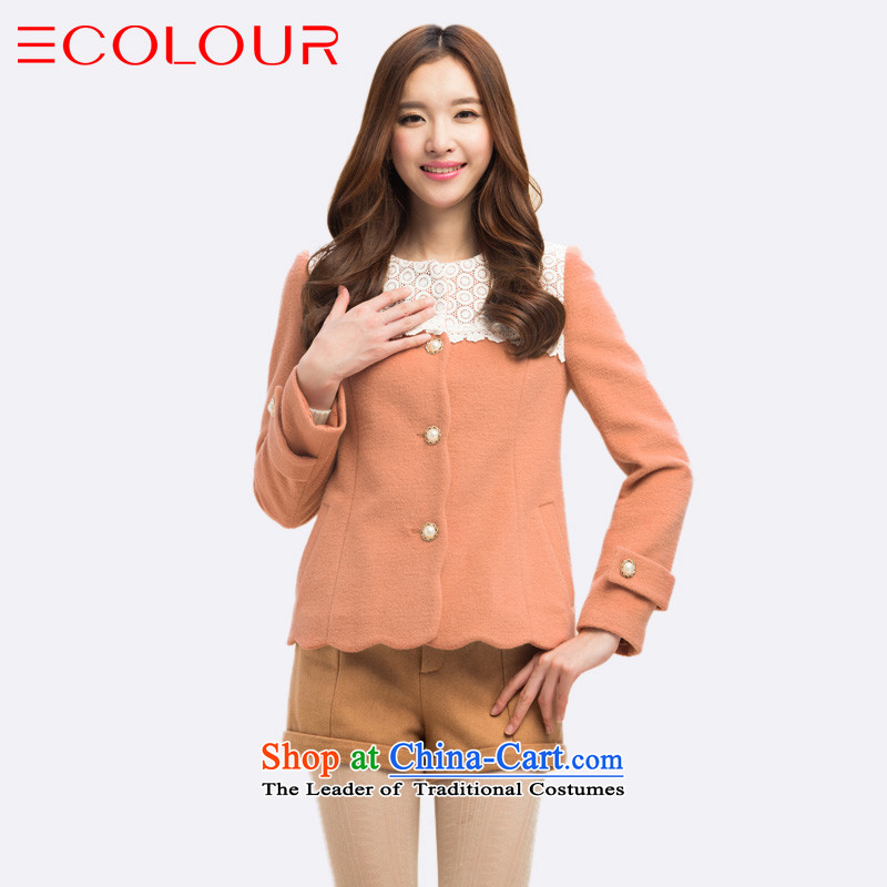 3 color for winter sweet wavy look with lace stitching short-haired girl overcoat so red and yellow燲l_170_92a