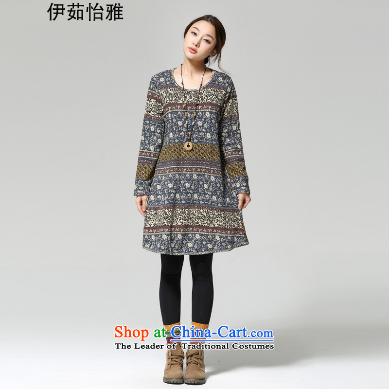 El-ju 2015 Autumn Yee Nga loaded thick long-sleeved thick MM stamp larger female Korean to intensify the skirt RA18365 picture color XL