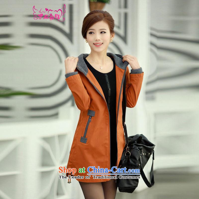 El-ju Yee Nga Chau load new Korean large Sau San women in long thick mm jacket coat to increase cotton coat 8286 ORANGEXXXXL