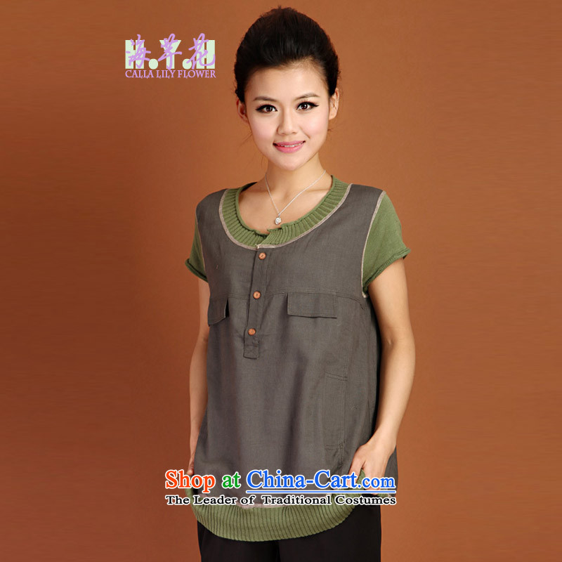 The sea route to spend the summer new Korean version thin thick mm spell color knitting stitching short-sleeved general, large relaxd 4FS09 shirt Gray2XL