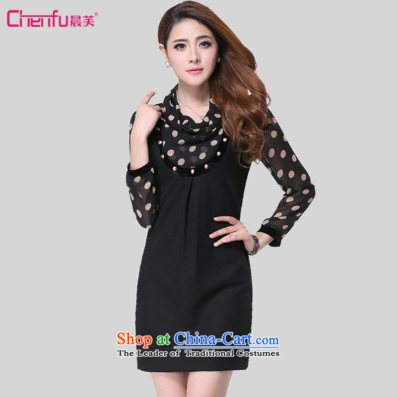 Morning to new spring and autumn 2015 to increase the number of women with long-sleeved commuter Korean Wave snow woven dresses video thin semi permeable wave point long-sleeved pressure hem dresses black?7XL recommendations 220-240 catty