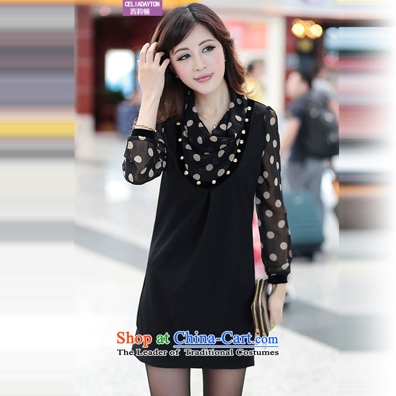 Szili main code 200 catties spring 2015 new product version of large Korean women's code thick MM autumn replacing dresses relaxd long-sleeved wave snow woven dresses�L black
