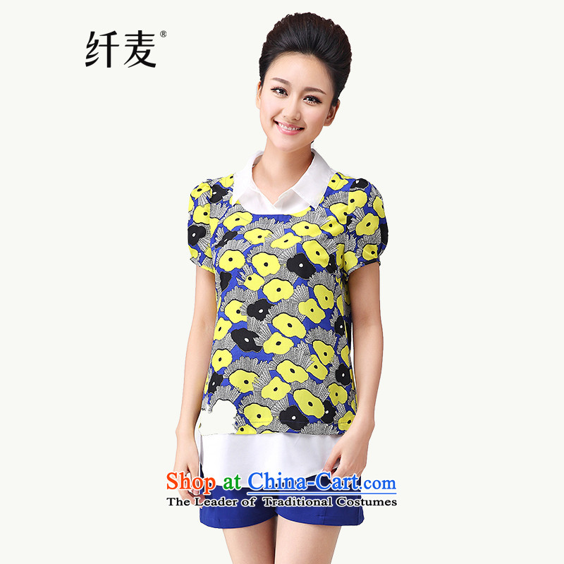 The former Yugoslavia Migdal Code women 2015 Summer new stylish Korean mm thick floral leave two short-sleeved T-shirt�83rd牋XXXXL Suit