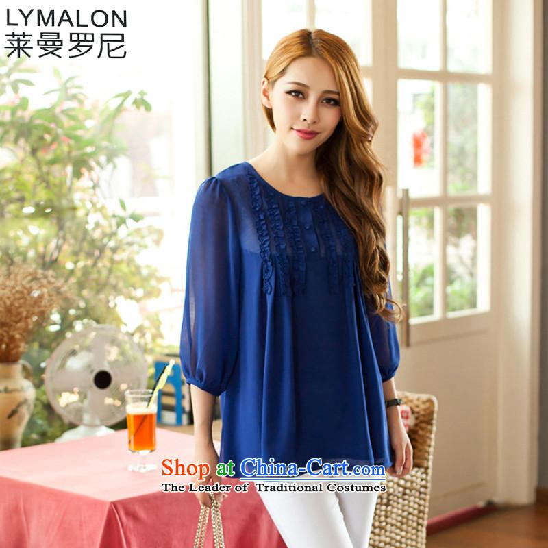 The lymalon lehmann thick, Hin thin 2015 autumn the new Korean version of large numbers of 7 modern women's sleeveless shirts chiffon shirt 8041 Blue燬
