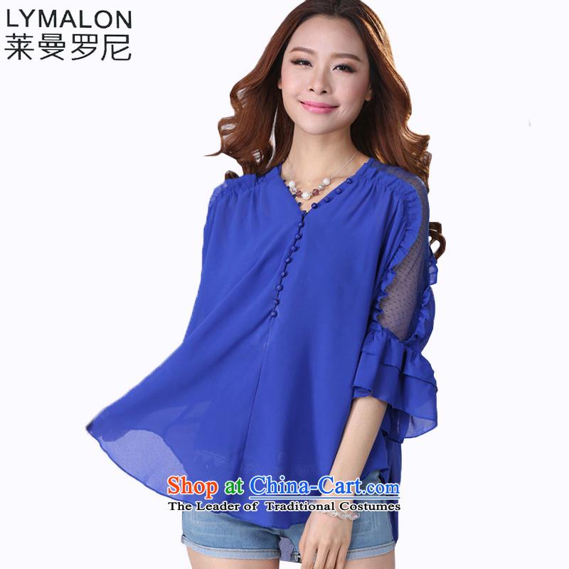 The lymalon Lehmann Summer 2015 new product expertise, Hin thin Korean version of large numbers of 7 women's sleeveless shirts chiffon shirt 511 Blue燲L