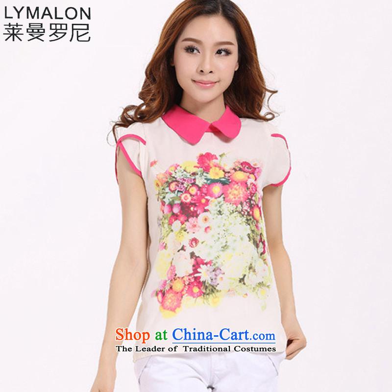The lymalon lehmann thick, Hin thin 2015 Summer new Korean modern large female reverse collar short-sleeved T-shirt shirt stamp chiffon 513 better red燲L