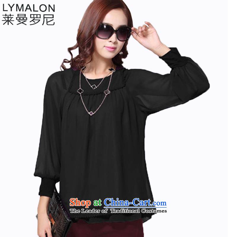 The lymalon lehmann thick, Hin thin 2015 autumn the new Korean large long-sleeved blouses and Sleek and versatile chiffon shirt T-shirt shirt 104 Black XL