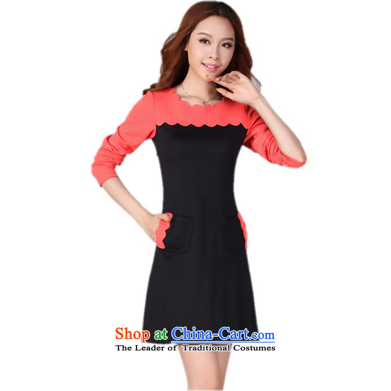 ? C.O.D. package mail as soon as possible the ventricular hypertrophy Code women's dresses 2015 Autumn replacing wear long-sleeved stylish waves for establishment of a commuter plane collision color ladies temperament skirt Black燲L 120-130 catty
