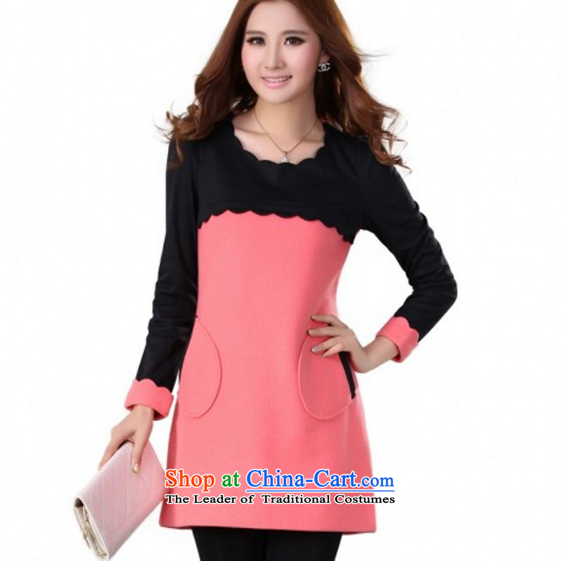 C.o.d. Package Mail to 2015 Fall_Winter Collections fashion Ceramic round collar large long-sleeved skirt knocked color display thin temperament commuter skirt wear skirts gross? m thick pink�5-180 4XL catty