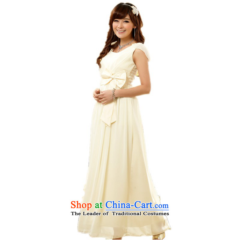 C.o.d. Package Mail xl women's dresses trendy bow tie video thin Sau San long skirt chiffon short-sleeved dinner dress bridesmaid sister wedding dresses champagne color�L 155-175 catty