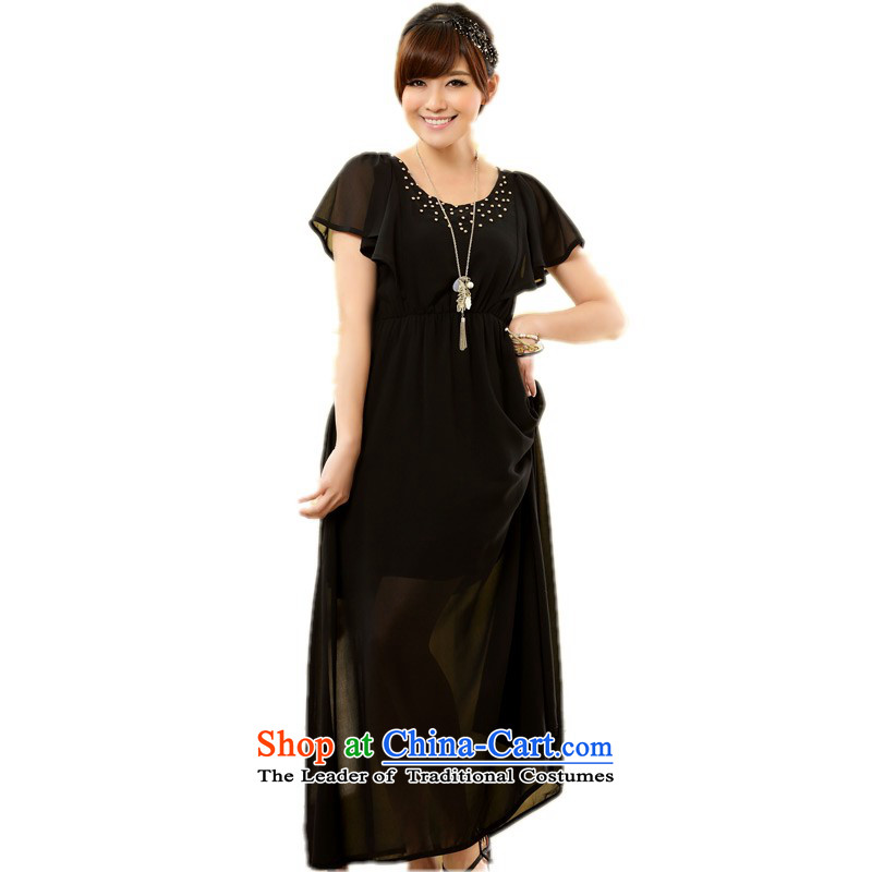 C.o.d. xl women's dresses and stylish bright lady niba short-sleeved chiffon long skirt thick mm leisure sand skirt solid color small black燲L 115-135 dress skirt catty