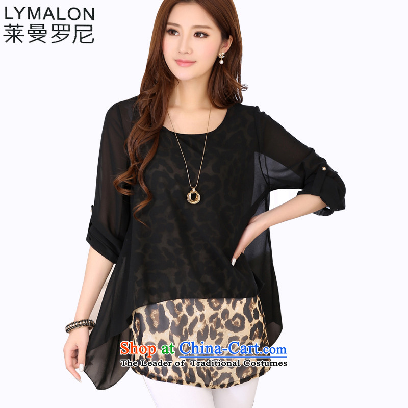 The lymalon lehmann thick, Hin thin 2015 autumn the new Korean version of large numbers of ladies in the sleek and versatile cuff leave two chiffon Netherlands 7002 Black�L