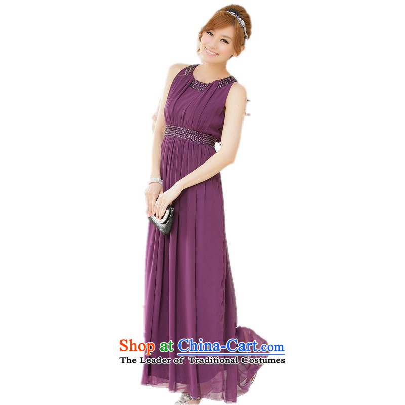 C.o.d. Package Mail xl women's dresses exquisite nail pearl vest small dress thick mm elegant wedding bridesmaid sister long skirt evening dress chiffon purple燲L 115-135 catty