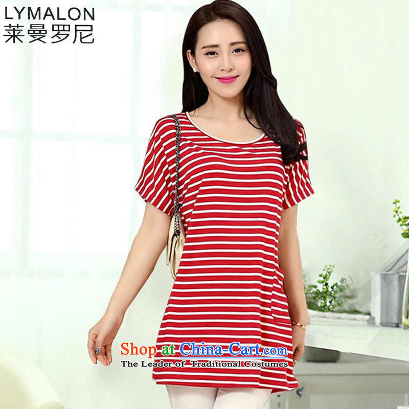 The lymalon lehmann thick, Hin thin Summer 2015 new product version of large Korean yards short-sleeved blouses and neck long Striped Tee 6159 picture color�L