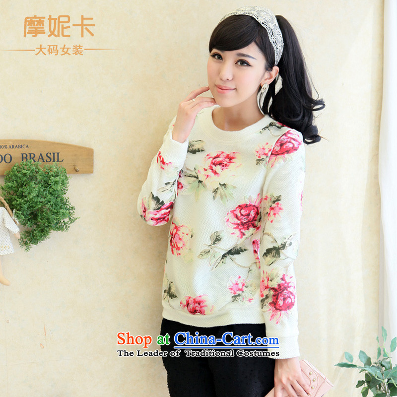 Thick mm spring 2014 large female thick sister video thin new Korean suit stitching round-neck collar燲XXXL white long-sleeved shirt