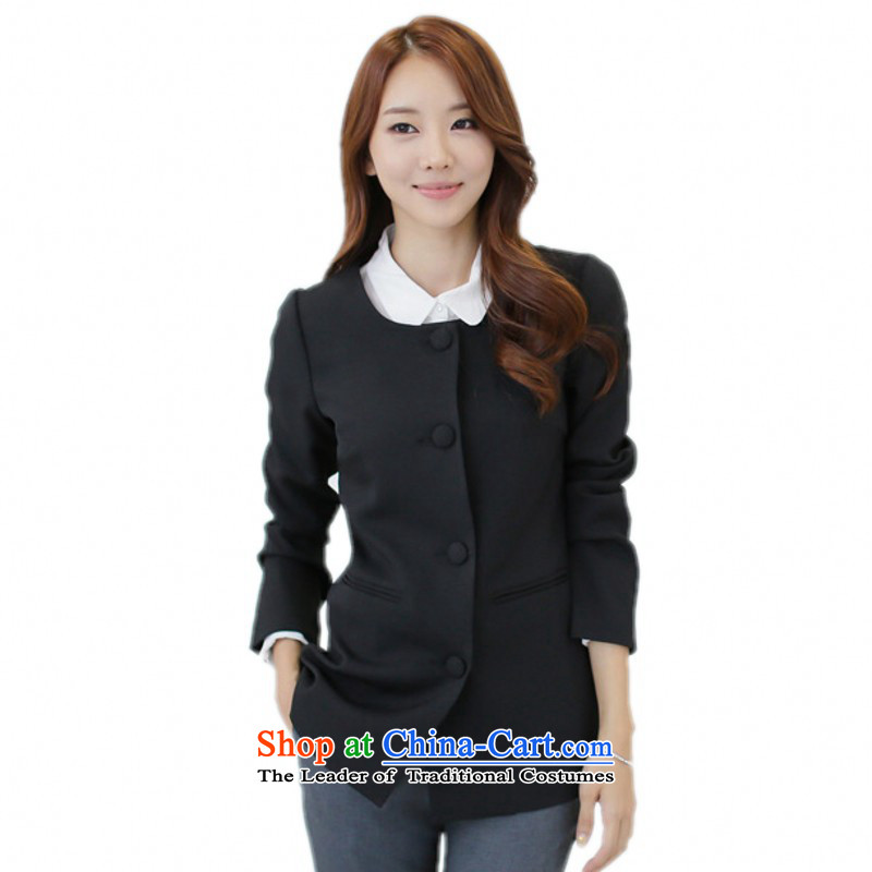 C.o.d. Package Mail xl female suits for the autumn of 2015 on Korean white-collar temperament without collars suits for long long-sleeved jacket, black jacket coat thin graphics�L 175-190 catty