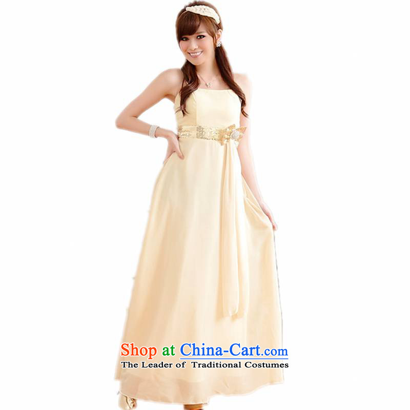 Xl Women's dresses�15 Summer new aristocratic elegant illuminated version bow tie chiffon long skirt small dress slips sister wedding dress champagne�5-155 2XL catty