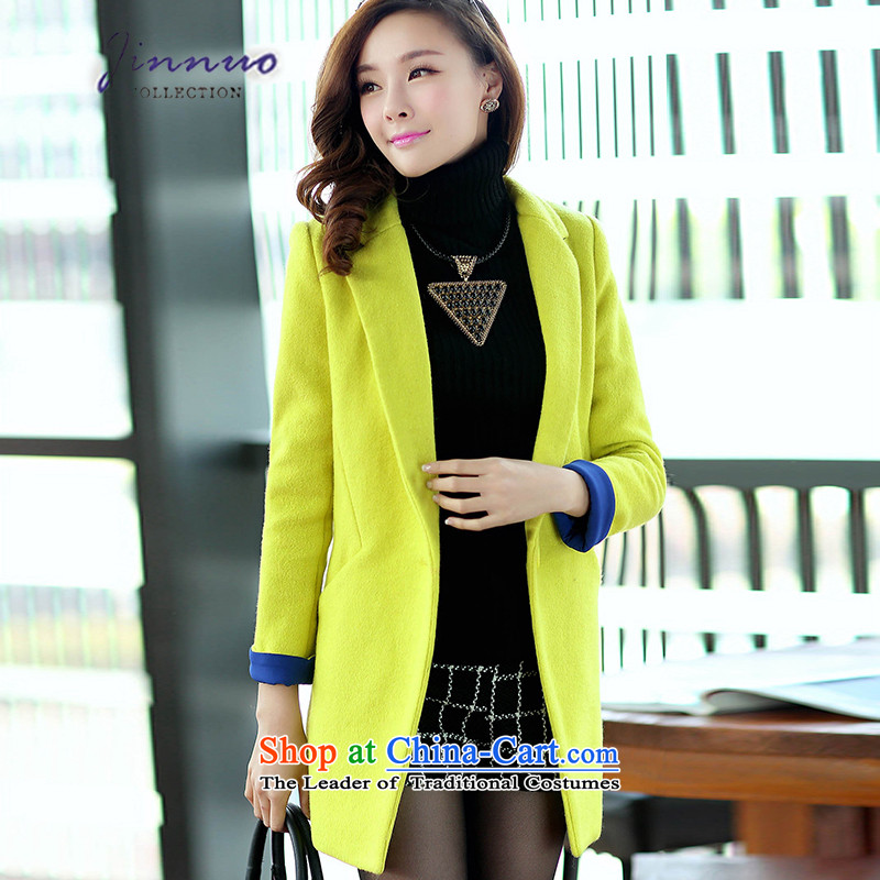 The world of Kam Yuet 2104 autumn and winter load new women's long in a grain of detained colors can spell Sau San coats jacket Connie sub clothes yellow thick燲XL