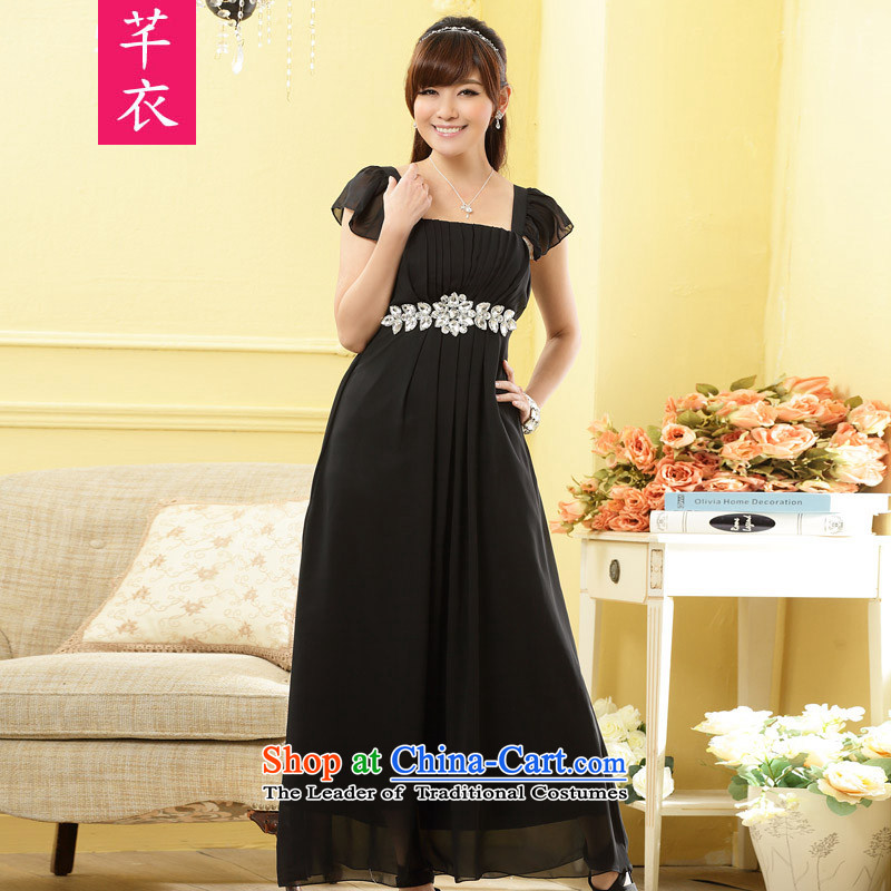 Xl thick sister women 2015 new custom fine diamond link Foutune of black rotator cuff noble long version of the fat people dress dresses black large are code�-120 catty