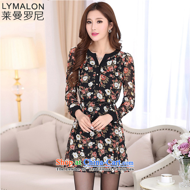 The lymalon lehmann autumn 2015 new product expertise, Hin thin large female decorated long-sleeved dress 7020 picture color�L