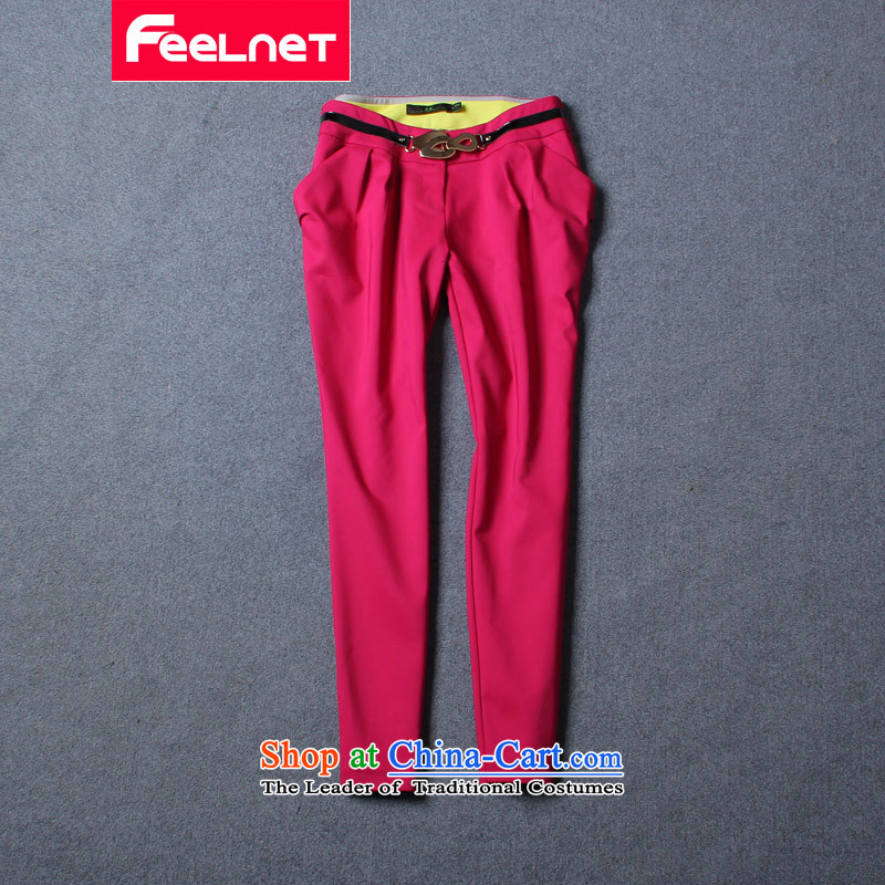 Clearance爁eelnet larger female Korean version 2015 Summer new graphics thin Harun trousers casual pants larger trousers 1404 better red�L code